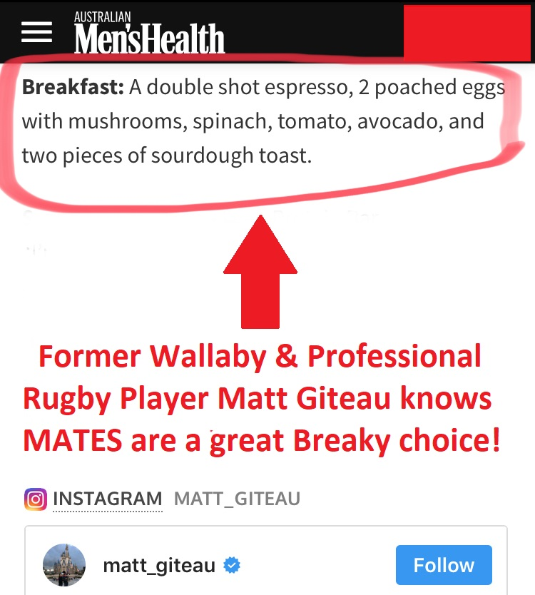 d8f3ef17989 Former Wallaby   Professional Rugby Player Matt Giteau knows MATES are a  great Breaky choice!